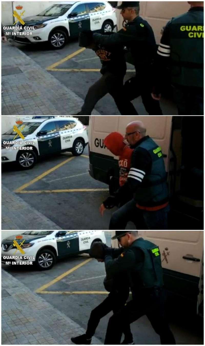 Imágenes facilitadas por la Guardia Civil de tres los cuatro jóvenes de 19, 21, 22 y 24 años detenidos como presuntos autores de una agresión sexual a una joven de 19 años la pasada Nochevieja en Callosa d