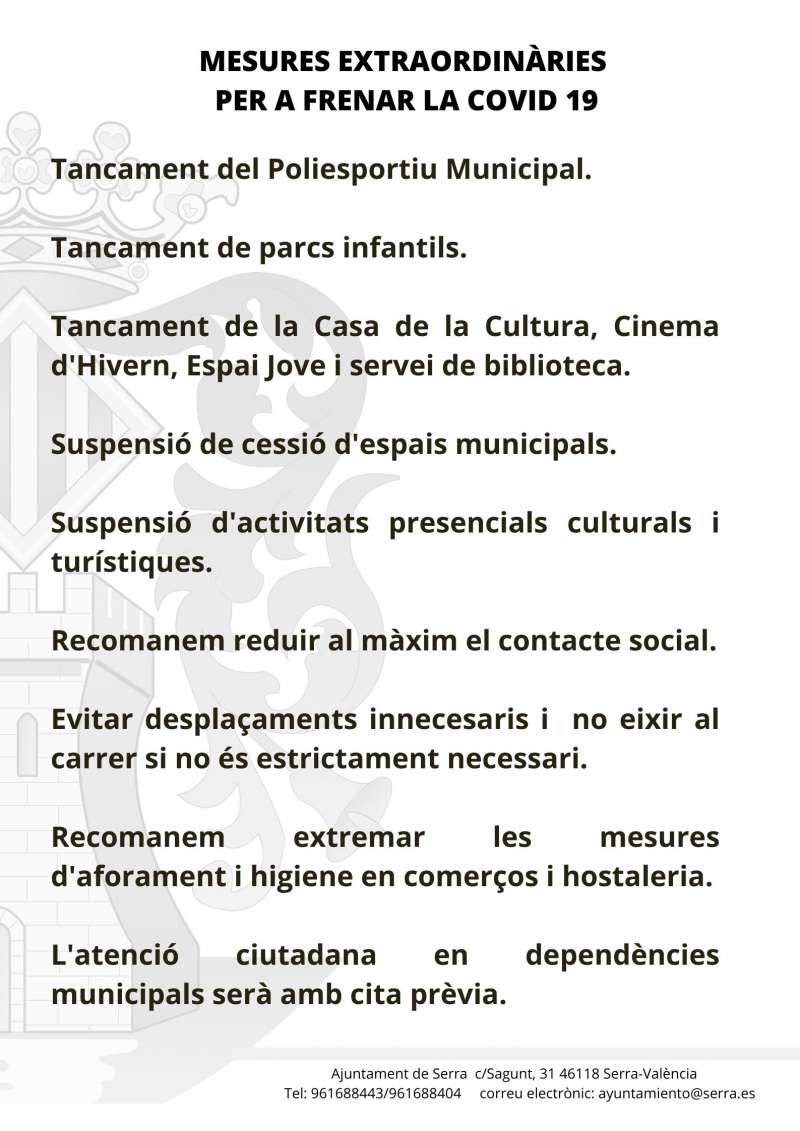 Mesures anti Covid en Serra. / EPDA