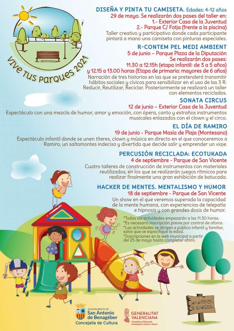 Cartel de Vive tus parques de San Antonio de Benagéber. / EPDA