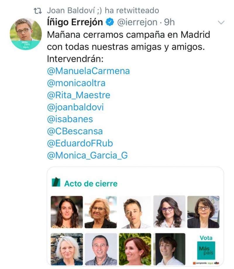 Tuit de Errejón anunciando el acto. EPDA