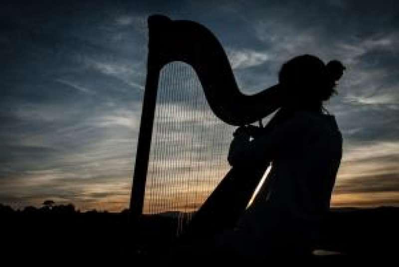 Chica tocando el arpa. / EPDA