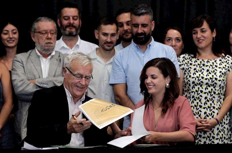 El alcalde de València, Joan Ribó (ci), y la vicealcaldesa primera, Sandra Gómez (cd). EFE/Archivo/Manuel Bruque