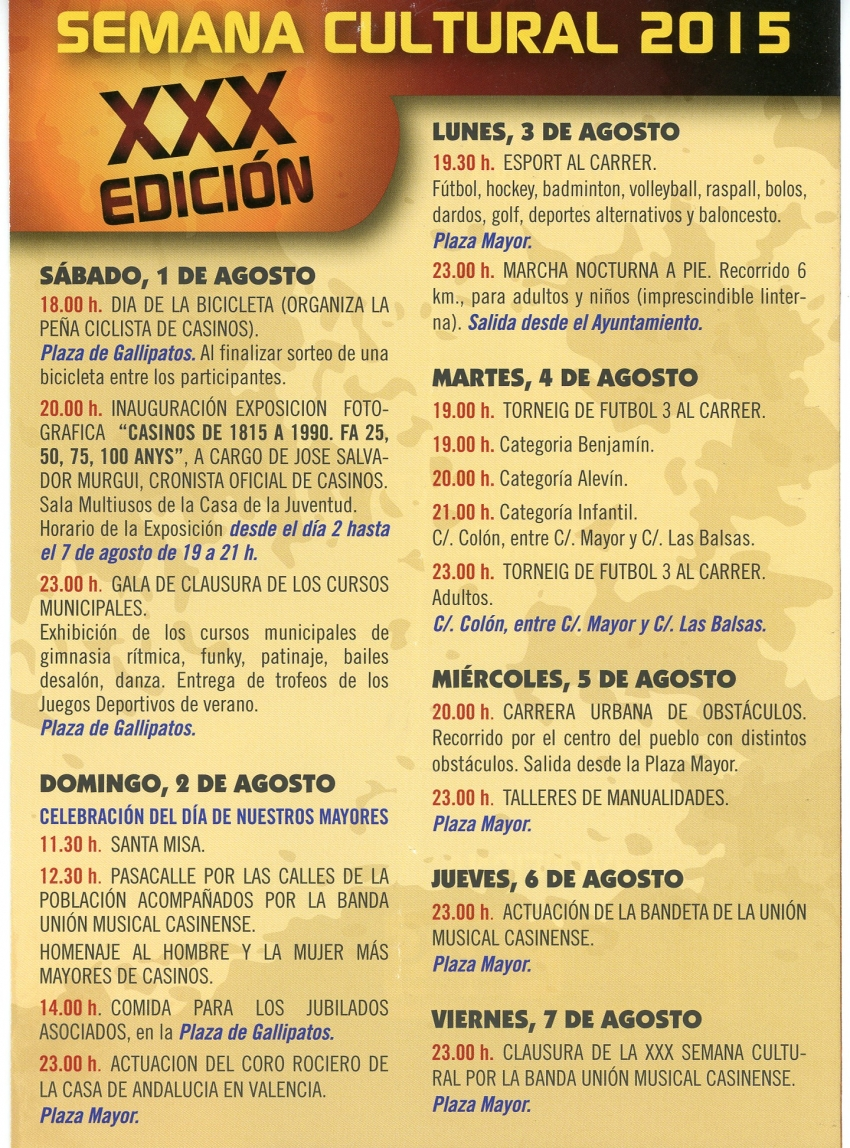 Programación de la Semana Cultural de Casinos.
