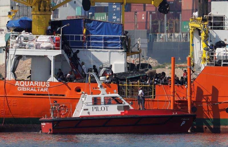 El barco Aquarius a su llegada al puerto de Valencia. EFE/Archivo