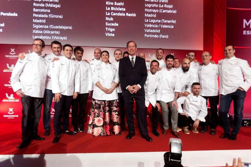 Cocineros con una estrella Michelin durante la gala para España y Portugal de 2018, celebrada en Tenerife.