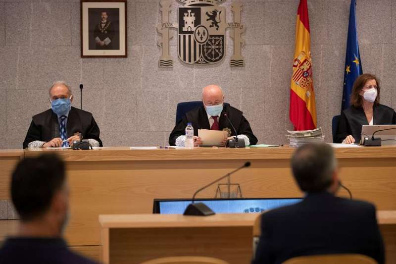 Sala de la Audiencia Nacional donde se celebra la vista por la pieza del caso Gürtel relativa a los contratos de actos celebrados por la visita del papa Benedicto XVI a Valencia en 2006. EFE