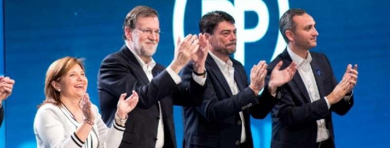 Bonig, Rajoy, Barcala y Sánchez en el gran acto del PP en la ciudad de Alicante. FOTO PPCV.COM