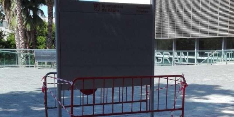 Un dels panells informatius de Xàtiva. EPDA