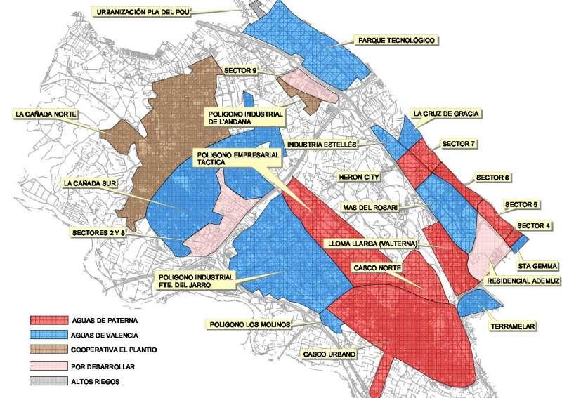 Los barrios afectados por la subida. EPDA