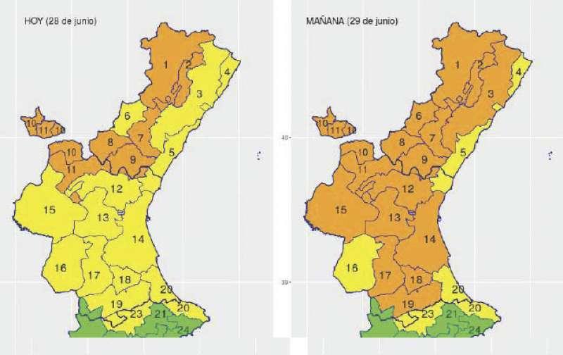 Zonas afectadas con nivel naranja hoy y mañana