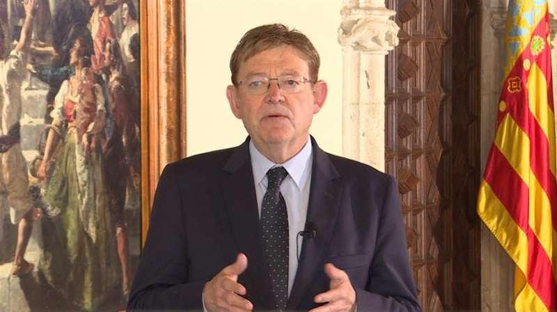 El president de la Generalitat, Ximo Puig, en un momento de la declaración institucional, en una imagen difundida por la institución
