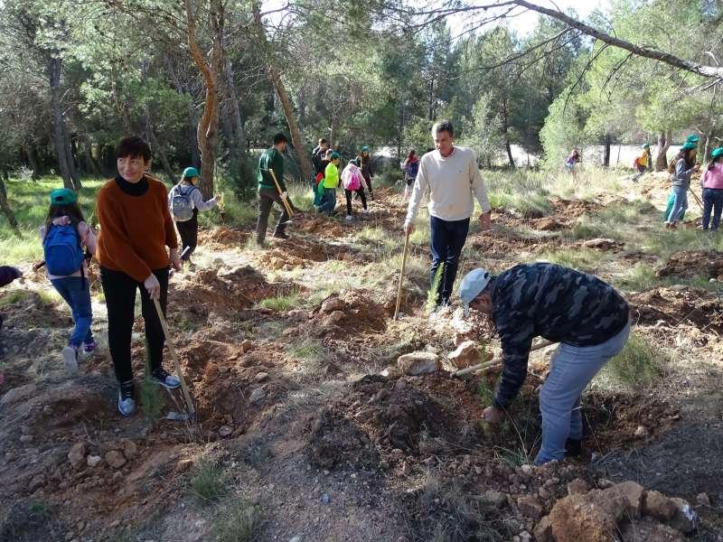 Técnicos, concejales y niños en la plantación