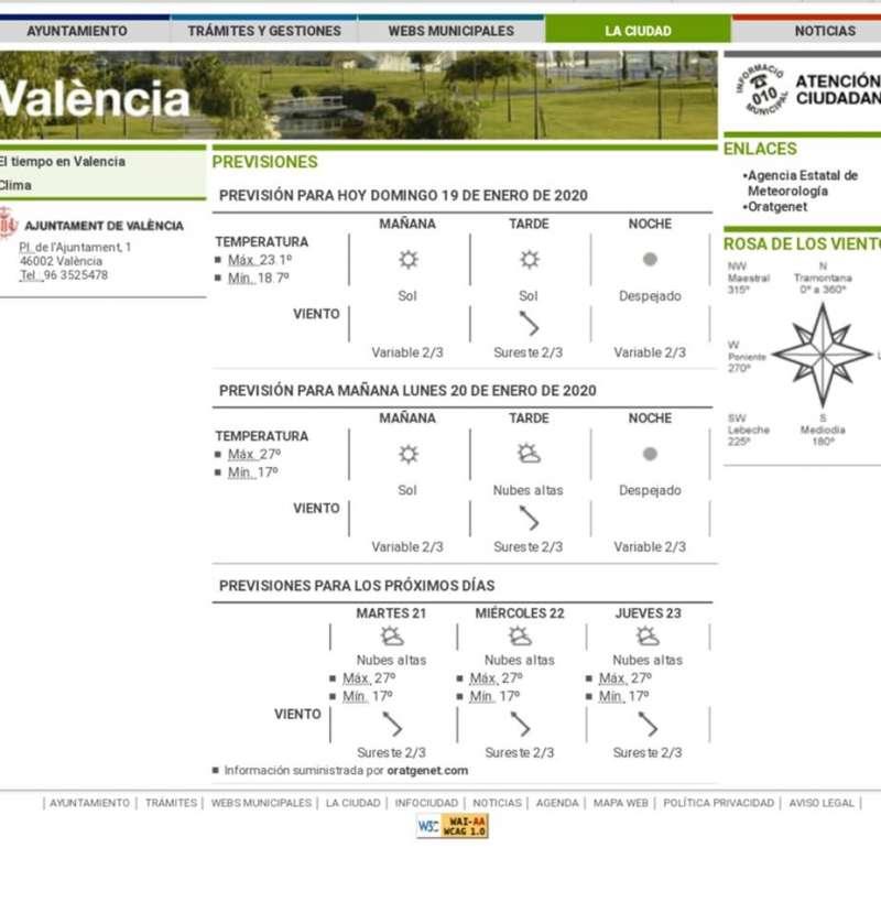 Captura de la web municipal. EPDA
