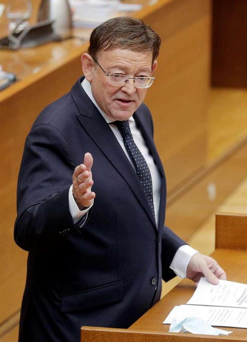 El president de la Generalitat, Ximo Puig, durante su intervención en la sesión de control de Les Corts. EFE