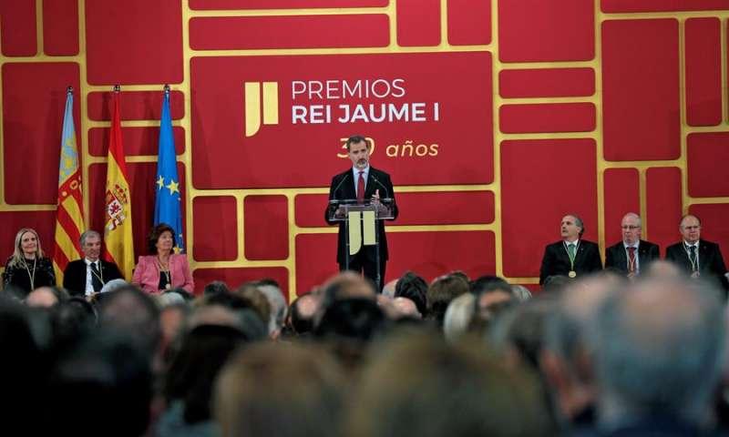 El rey Felipe VI durante la pasada edición de los Premios Jaime I. EFE/ Manuel Bruque/Archivo