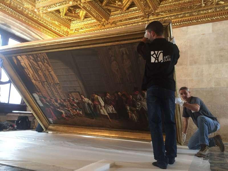 Técnicos de Patrimonio preparan el traslado