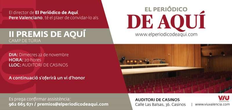 Invitació a la Gala del director de El Periódico de Aquí, Pere Valenciano