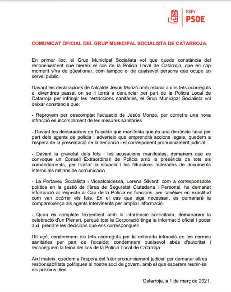 Contundente escrito del PSPV-PSOE en Catarroja. EPDA