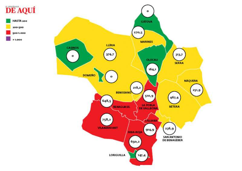Mapa de incidencia en el Camp de Túria. EPDA.