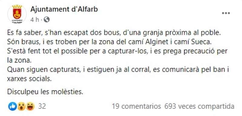 Mensaje del Ayuntamiento en redes sociales.