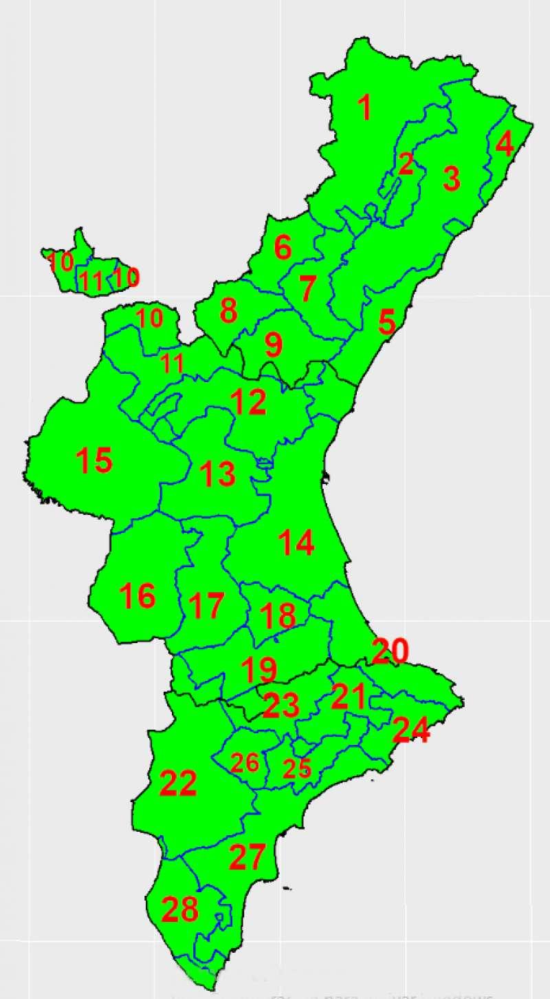 Distribución de zonas en la C.V.