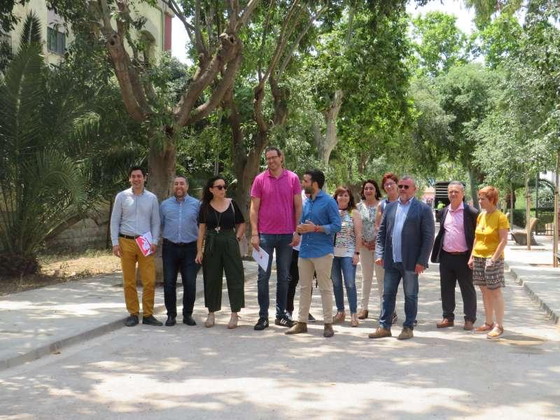 Los concejales del equipo de gobierno en la Gerencia. EPDA