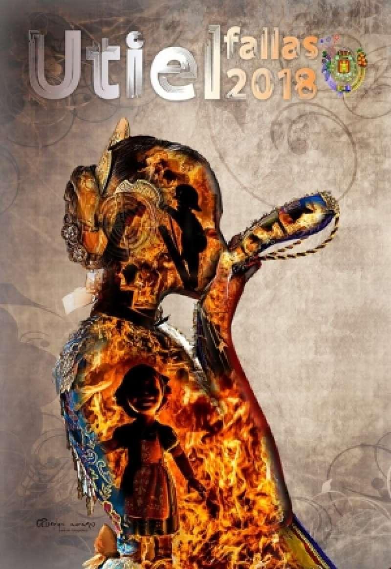 Cartel anunciador de las Fallas de Utiel de 2018, obra de Sergio. A Ramos