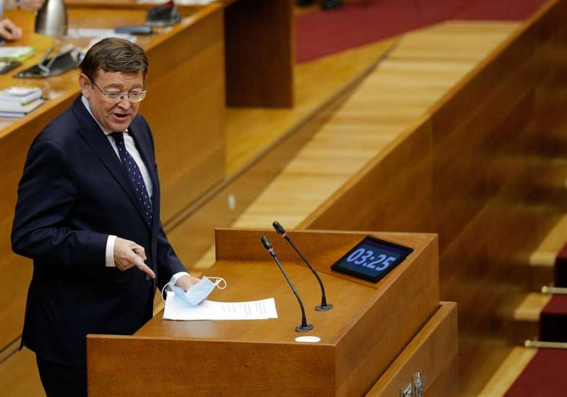 El president de la Generalitat, Ximo Puig, durante su intervención en les Corts. EFE