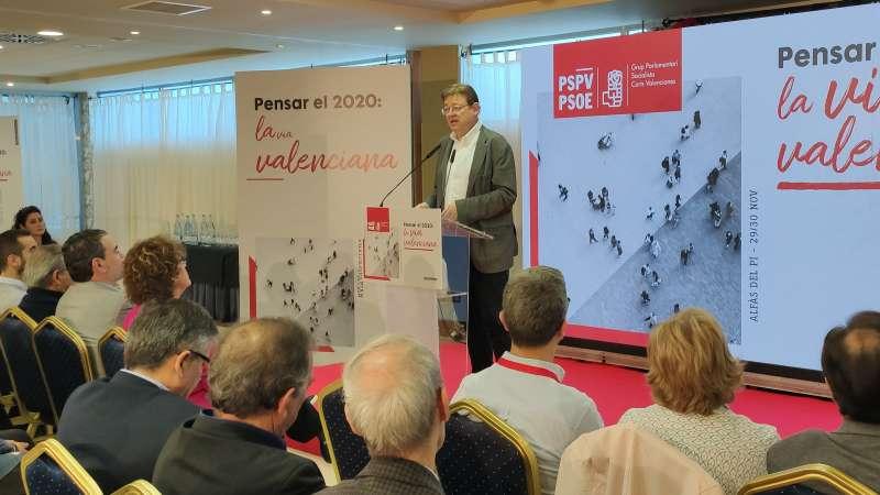 Una de las imágenes de Ximo Puig en las Jornadas Pensar 2020. -EPDA