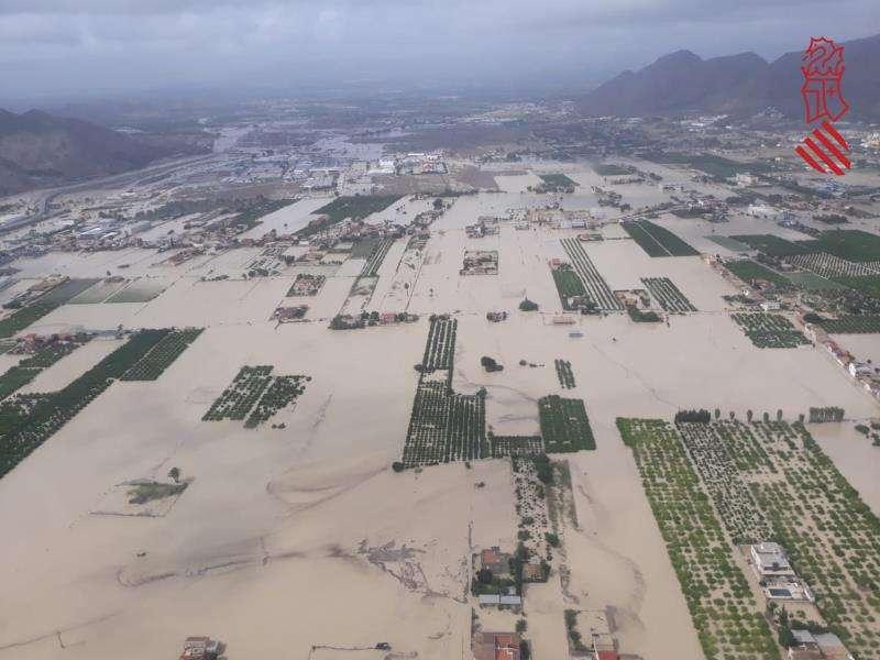 Inundaciones en la zona de la Vega Baja de Alicante. EFE/Emergencias Generalitat