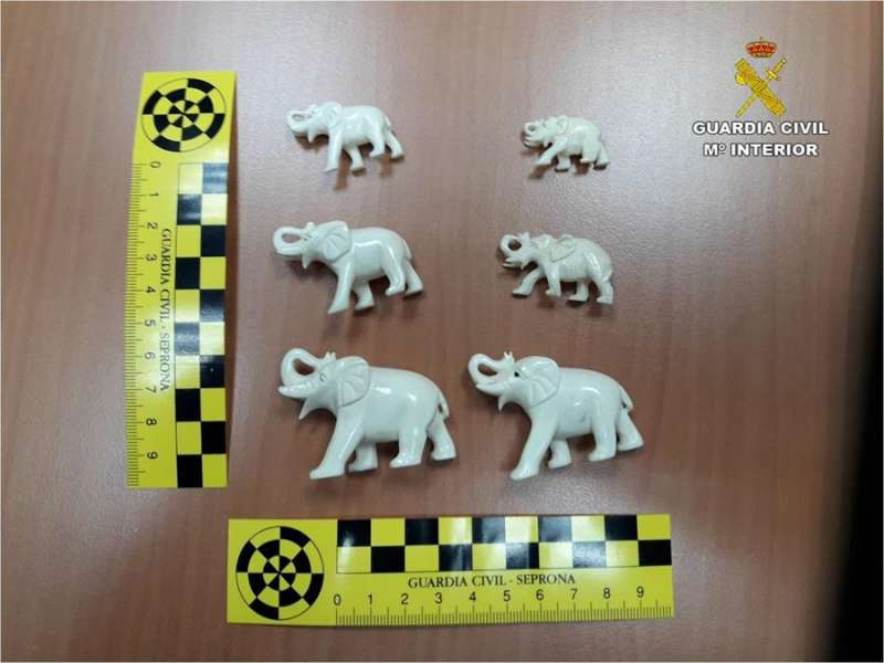Algunas de las piezas de marfil intervenidas, en una imagen de la Guardia Civil.