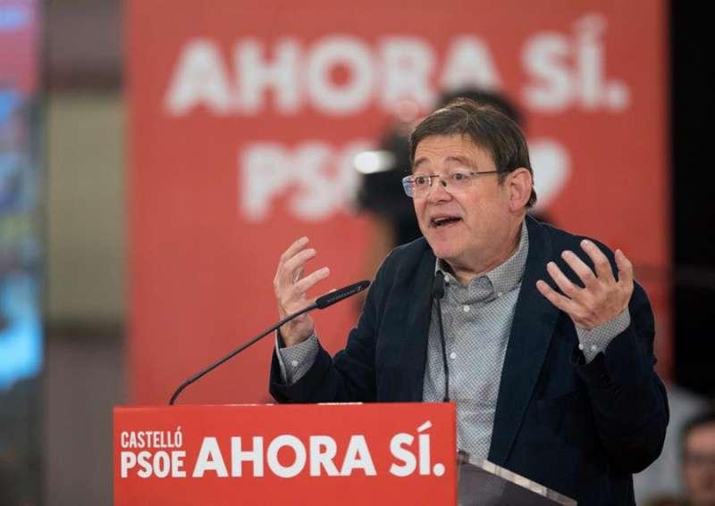 El presidente de la Generalitat y secretario general del PSPV, Ximo Puig, en un mitin del PSOE. EFE/ Archivo