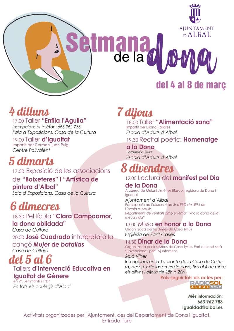 Cartel y programación de Albal para la Semana de la Mujer