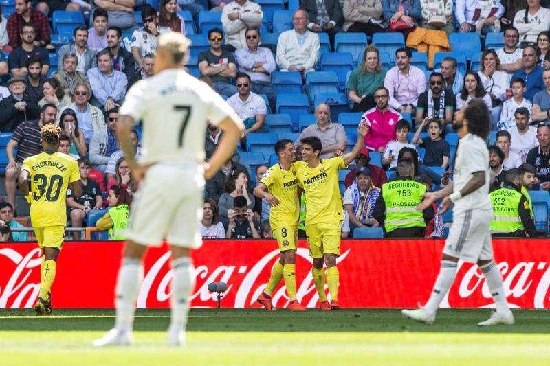 El delantero del Villarreal Gerard Moreno celebra su gol ante el Real Madrid, durante el partido de LaLiga entre ambos equipos de la pasada temporada. EFE/Archivo
