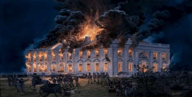 Antigua Biblioteca de Alejandría en llamas