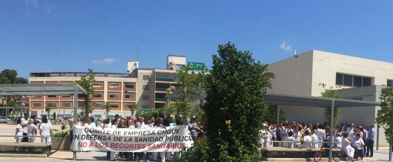 Momento de la protesta de ayer