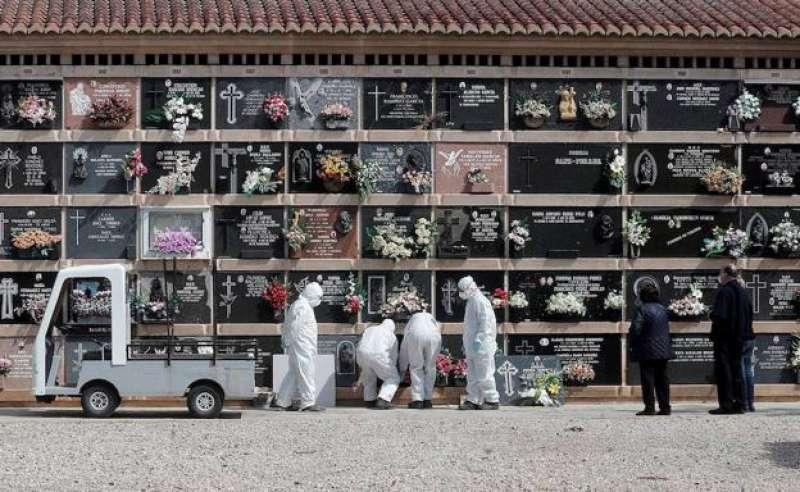 Un entierro durante la pandemia.