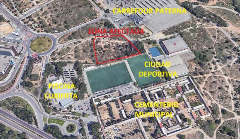 Zona donde se ubicará la pista en Paterna. EPDA