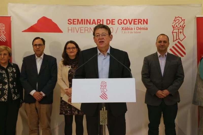 Imagen de la comparecencia del president de la Generalitat, Ximo Puig, para presentar las conclusiones del seminario de invierno celebrado en Denia. EFE/Generalitat