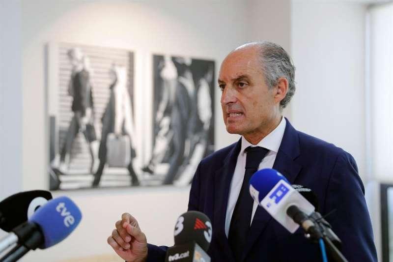 El expresident de la Generalitat Francisco Camps, durante las declaraciones que ha realizado hoy en València. EFE