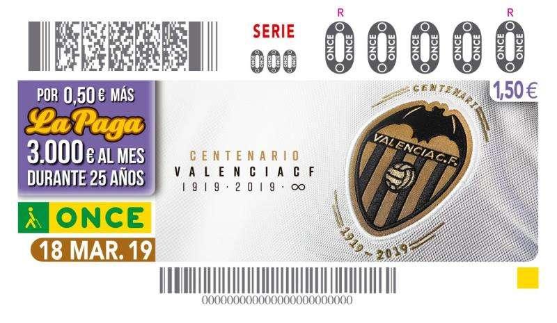Foto cedidas por la ONCE del cupón conmemorativo del centenario del Valencia CF.