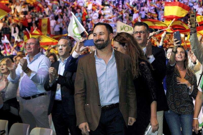 El presidente de Vox, Santiago Abascal, durante un acto de la formación. EFE/Archivo