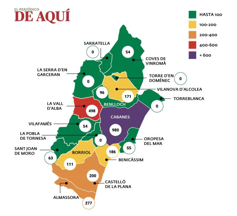 Mapa de la incidencia del coronavirus en La Plana Alta (Castellón)  / EPDA