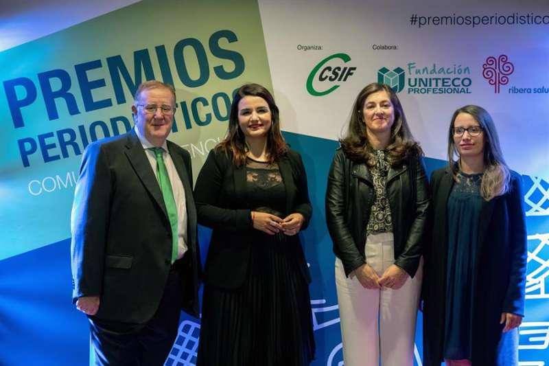 Beatriz de Zúñiga (d) , Cristina Bea (2º i) y Alfonso Gil, en la imagen junto a la presidenta autonómica del CESIF, Alicia Torres.EFE/ Biel Aliño