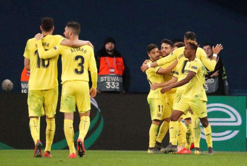 Los jugadores del Villareal celebran un gol durante el partido de ida entre el Villarreal y el Zenit. EFE