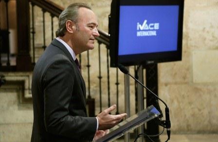 Alberto Fabra durante la presentación del Plan de Acción exterior y de la Política de Internalización. EPDA