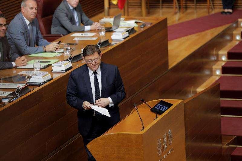El president de la Generalitat, Ximo Puig, hoy en Les Corts. EFE