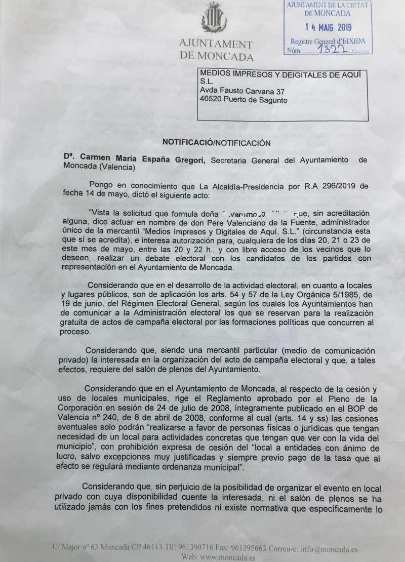Primera parte del escrito de la Alcaldía Presidencia.
