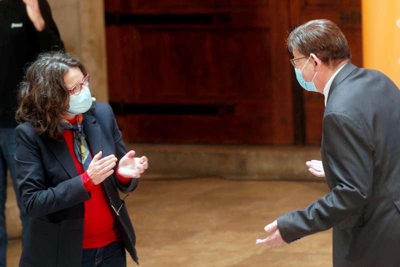 El president de la Generalitat, Ximo Puig, y la vicepresidenta y consellera de Igualdad y Políticas Inclusivas, Mónica Oltra, durante la presentación del Plan