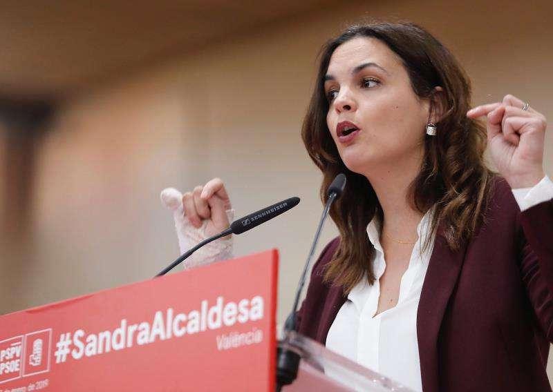 La candidata socialista a la Alcaldía de Valencia, Sandra Gómez, durante un acto de partido. EFE/Archivo